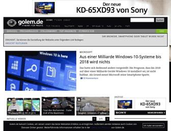 Main page screenshot of golem.de