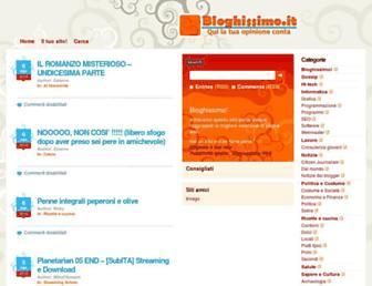 Main page screenshot of bloghissimo.it