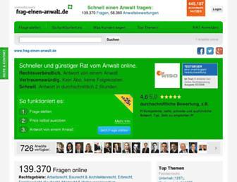 Main page screenshot of frag-einen-anwalt.de