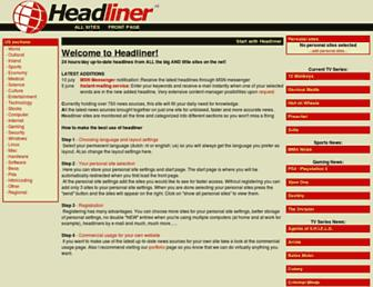 Main page screenshot of headliner.org