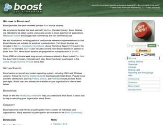 Main page screenshot of boost.org