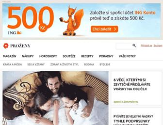 Main page screenshot of prozeny.cz