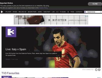 Main page screenshot of tv3.ie