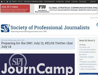 Main page screenshot of spj.org