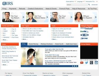 Main page screenshot of irs.gov