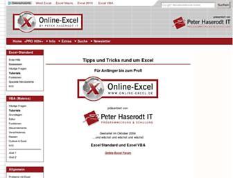 Main page screenshot of online-excel.de
