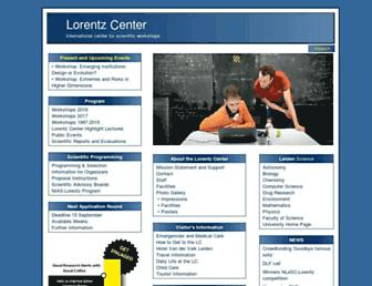 Main page screenshot of lorentzcenter.nl