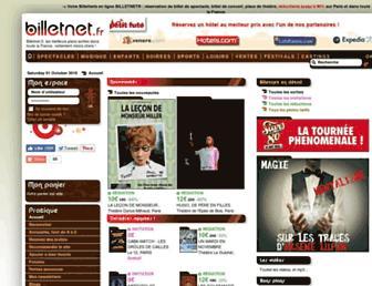 Main page screenshot of billetnet.fr