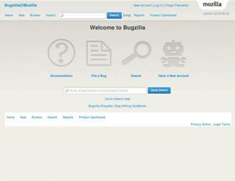 Main page screenshot of bugzilla.mozilla.org