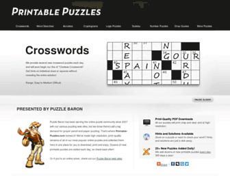 printable-puzzles.com screenshot
