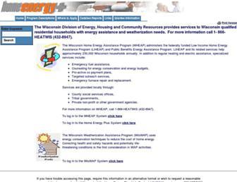Main page screenshot of homeenergyplus.wi.gov