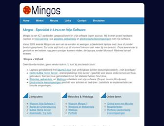 Main page screenshot of mingos.nl