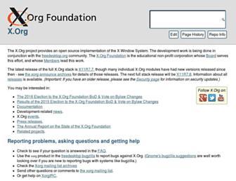 Main page screenshot of wiki.x.org