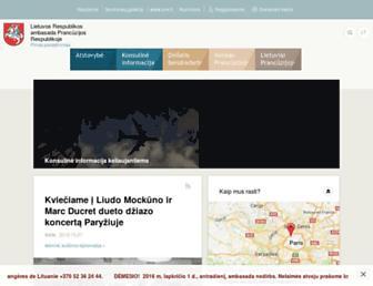 Main page screenshot of fr.mfa.lt