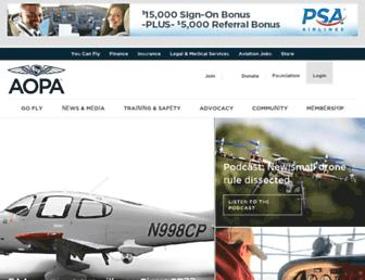 Main page screenshot of aopa.org
