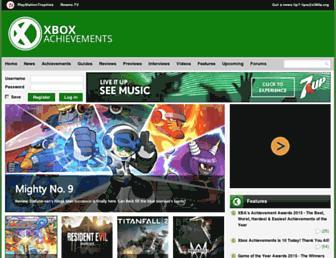 Main page screenshot of xbox360achievements.org