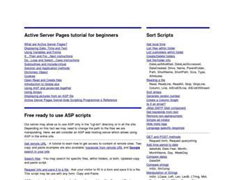 Main page screenshot of asptutorial.info