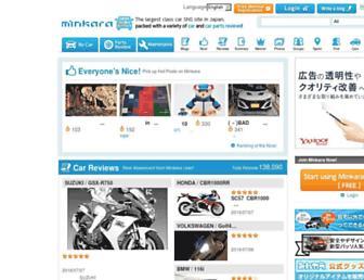 Main page screenshot of minkara.carview.co.jp