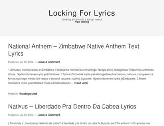 lookingforlyrics.mobi screenshot