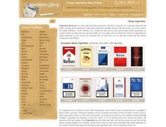 Main page screenshot of cigarettes-shop.net