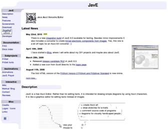 Main page screenshot of jave.de
