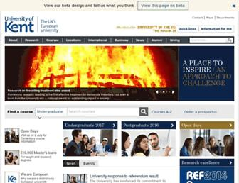 Main page screenshot of kent.ac.uk