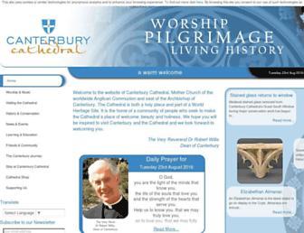 Main page screenshot of canterbury-cathedral.org