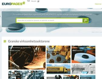 Main page screenshot of europages.no