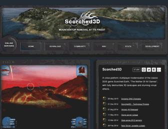 Main page screenshot of scorched3d.co.uk