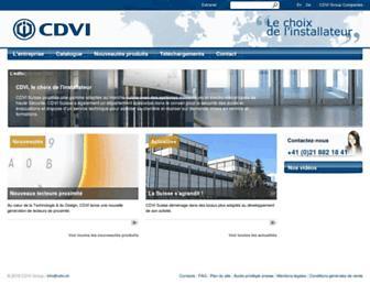 Main page screenshot of cdvi.ch