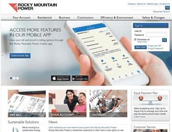 Main page screenshot of rockymountainpower.net