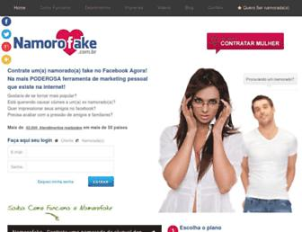 Main page screenshot of namorofake.com.br