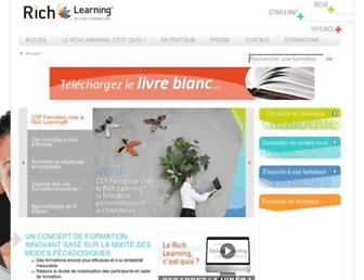 Main page screenshot of rich-learning.fr