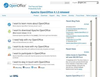 Main page screenshot of openoffice.org