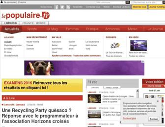 Main page screenshot of lepopulaire.fr