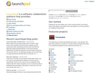Main page screenshot of launchpad.net