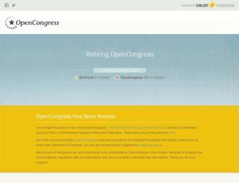 Main page screenshot of opencongress.org