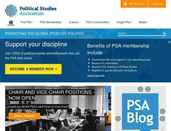 Main page screenshot of psa.ac.uk