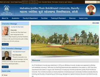 Main page screenshot of mjpru.ac.in