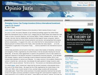 Main page screenshot of opiniojuris.org