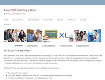 exceltrainingvideos.com screenshot
