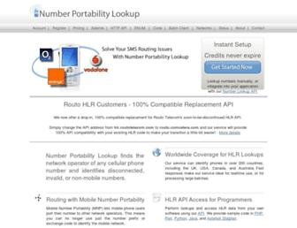 numberportabilitylookup.com screenshot