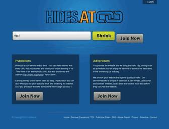 Main page screenshot of hides.at