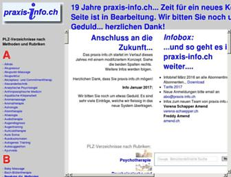 Main page screenshot of praxis-info.ch