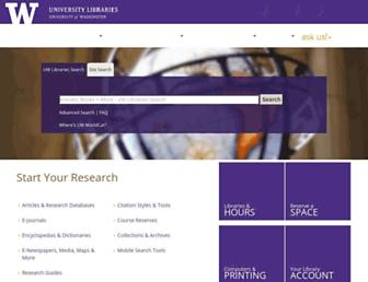 Main page screenshot of lib.washington.edu