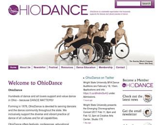 Main page screenshot of ohiodance.org