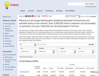 Main page screenshot of ideas.repec.org