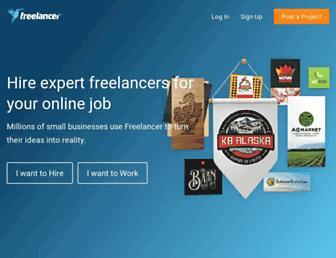 Main page screenshot of freelancer.co.uk