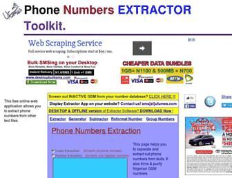 phonenumberextractor.com screenshot