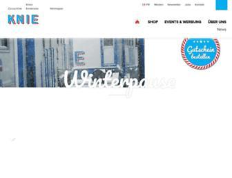 Main page screenshot of knie.ch